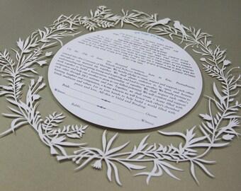 Ketubah Paper cut Custom Made, Ketubba ,wedding vows, jewish marriage ceremony, Wedding Gift, Modern Ketubah, jewish wedding, gold leaf