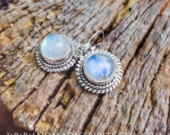 Sterling Silver drop Rainbow Moonstone filigree earrings