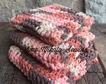 Crocheted Dishcloths - Peach, Coral, and Brown - 100% Cotton - Set of Three