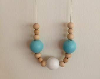 Wooden bead necklace //Aqua white and natural beads // hand painted wooden bead necklace
