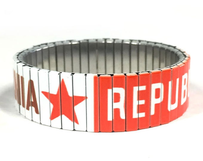 California Flag bracelet, California, Stretch Bracelet, Sublimation, Repurpose Jewelry, Stainless Steel, Wrist Band, gift for friends