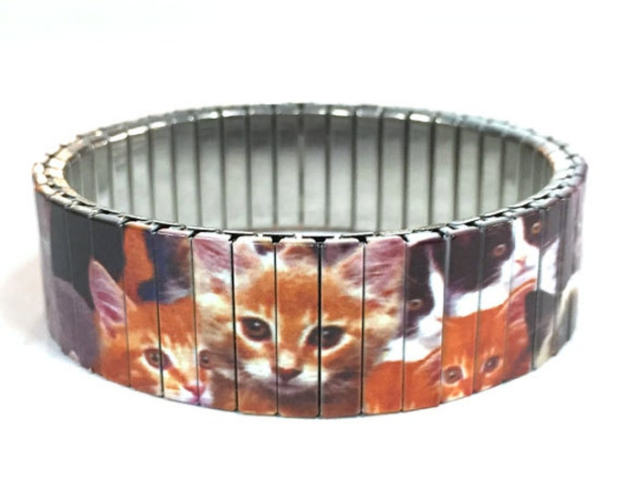Cat lover bracelet, Cats, Kittens Stretch Bracelet, Repurpose Watch Band, Sublimation, Stainless Steel, Wrist Band, gift for friends