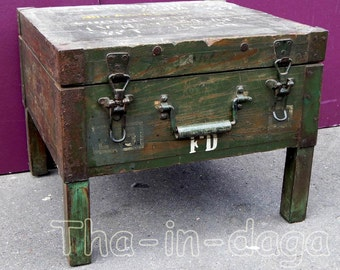 Small low Table or bedside fund military Recycle 49x45x39cm India