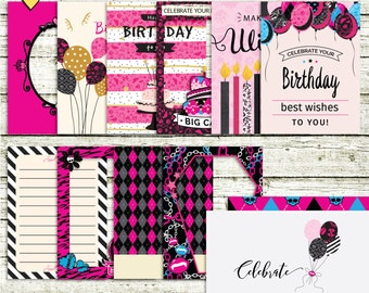 SUMMER SALE - Monster High Birthday Celebration - Journal Cards - Instant Download - Printable journaling cards