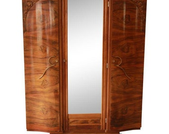 1930s French Art Deco Mirrored Wardrobe / Vintage French Armoire / Burlwood Wardrobe / Knockdown Wardrobe