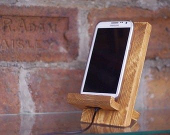 Gift for men, wooden dock station, iphone stand, phone docking station, birthday gift for husband from wife, brother graduation, father gift