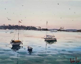 The Boats, Datca Marina Watercolor Painting Art Print