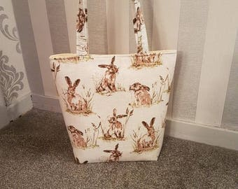 Large Shopper/Tote Bag. Countryside Hares/Rabbits. 100% Cotton Designer Fabric. With internal Pockets.