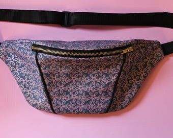 Handmade patterned floral glittery Denim Bumbag/ Fanny Pack/ Festival bag