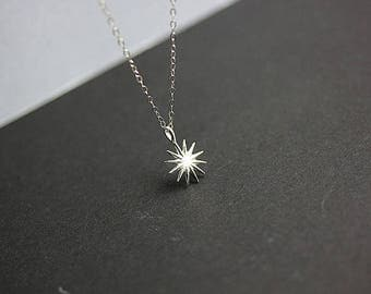 Tiny Sun Necklace - Sterling Silver Sun Necklace - Sunburst Necklace - Sun Pendant - Dainty Necklace - Beach Necklace - Summer Jewelry