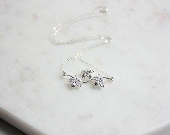 925 Sterling Silver Flower Branch Necklace  - Flower Jewelry -  Floating Flower Branch Necklace - Flower Branch Connector necklace