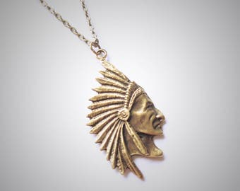 Native American Chief Necklace, Bronze Indian Chief Charm Pendant, Aboriginal Southwestern Western Antique Tribal Statement Necklace