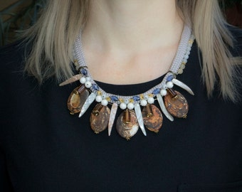 Natural stone necklace. Bib necklace. Chunky necklace.