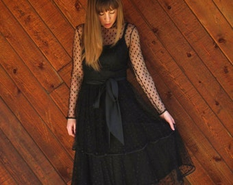 Black Mesh Tiered Ruffle Bow Midi Party Dress - Vintage 80s - XS