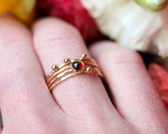 Garnet and 14k gold stacking ring, January birthstone, rose cut, thin delicate ring, red gemstone, delicate gold ring, solid gold ring