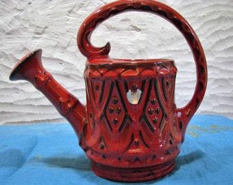 Gießkanne – Übelacker Ü-Keramik – vintage Keramik WGP – 60er Jahre Mid Century Home Décor – rot & schwarz – Fat Lava