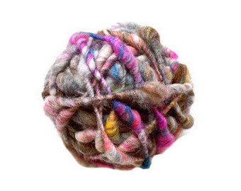 Nomad Cast Away Yarn by Knit Collage ~ Rustic, Earthy, Multicolor Neutral Wool Yarn ~ Handspun ~ Fluffy, Bulky, Soft