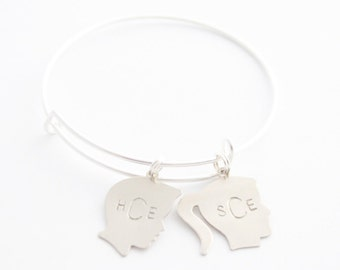 Personalized Bracelet, Silhouette Charm Bracelet, Name Bracelet, Grandmother Bracelet, Mom Bracelet