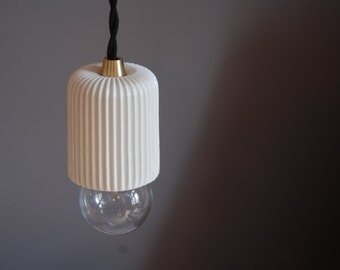 Ceramic Pendant Lamp PLEATED - Ceramic Shade Pendant Light - Brass and Ceramic - Art & Manufacture Design - Scandinavian look - Minimalist