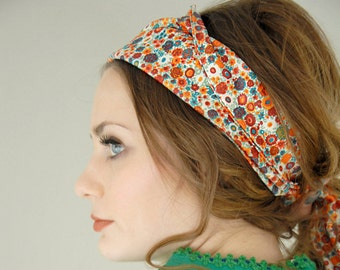 Vintage floral stretchy scarf, long headband orange red teal 1970s