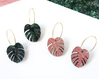Green Plant Hoop Earrings - Tropical Leaf Jewellery - Colour Of The Year - Tropical Hoop Earrings  - Plant Earrings - Botanical Jewellery