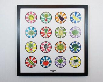 Vegetable Art Print // Large Icons // Square Art Print // Modern Art Print // Bold Colors // Kitchen Art // Pop Art // Graphic Art