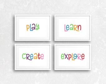 Playroom Decor, Playroom Wall Art, Playroom Prints, Play, Create, Learn, Explore, Playroom Artwork, Kids Room Wall Art, Nursery Decor