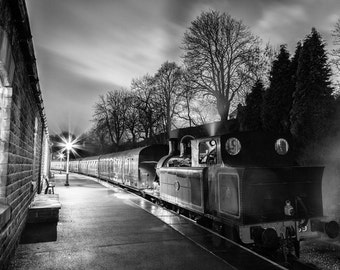 Steam Train, KWVR, Keighley Worth Valley Railway, Black and White, Oxenhope, Night Photo, Station, Photo, Photography, Fine Art, Print