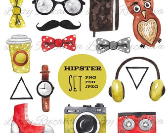 Watercolor hipster set. Hand painted illustration PSD
