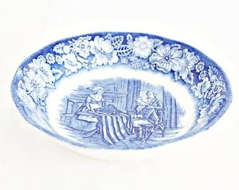 "Vintage Liberty Blue Fruit Bowl 5"": English Fruit Bowl, Blue Transferware Fruit Bowl, Vintage Fruit Bowl, Blue Berry Bowl, Mini Dessert Bowl"