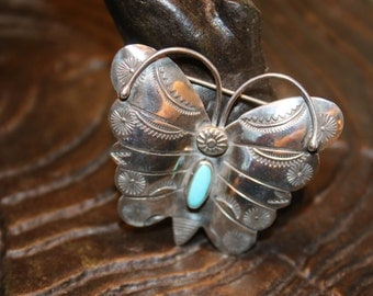 Navajo Native Indian Sterling Silver Turquoise Stamped Butterfly Pendant Brooch 9.3g