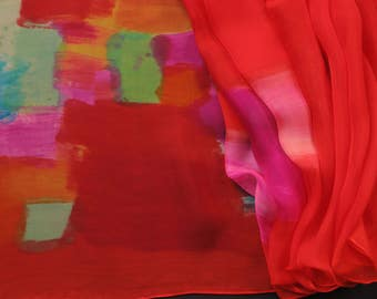 Hand painted silk scarf - Skittles. Multicolored scarf. Abstract silk painting by Dimo Balev. Long scarf hand painted. Pop art style.