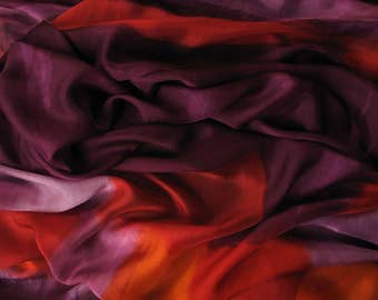 Luxury hand painted silk shawl. Wine red scarf. Shades of red scarf. Long shawl. Abstract silk painting by Dimo. Modern art. Woman accessory