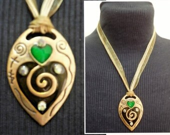 Ribbon Necklace Pendant Green Vintage Jewelry Women's Fashion Accessories Summer Casual Style