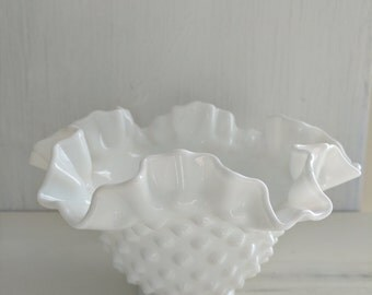 Vintage Milk Glass Vase - Fenton Vase - Hobnail Vase - Milk Glass - White - Country Chic - Cottage Chic - bridal shower