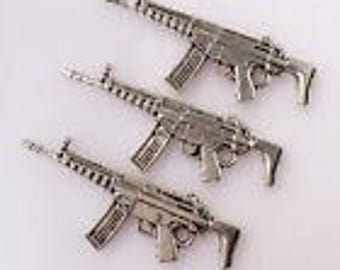 Silver Charms Gun Rifle Weapon x4
