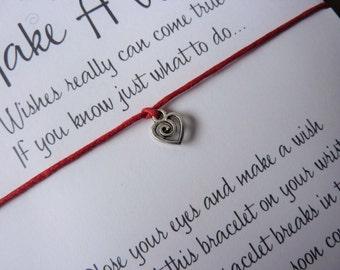 Wish Bracelet - Heart / Tiny Heart Charm / Love / Valentine Gift / Valentine's Day / Subtle Jewellery / Choice of colours / Wish Knots