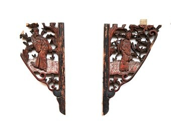 Caved wood panel Art of Two Chinese Peking opera characters  enowned actor  Wood sculpture of Chinese Antique small wood carving Folk Art