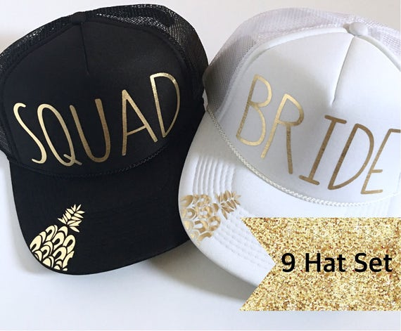 9 Bride Squad Hat SET| Bride Hats| Bachelorette Hats| 1 White Bride, 8 Black Squad Hats-with Gold Vinyl lettering