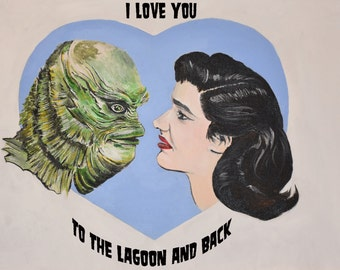 Creature from the Black Lagoon Valentines Day Art Print 8X10