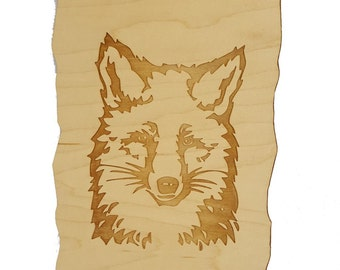 Fox - Engraved Wooden Wall Plaque - Maple Wood
