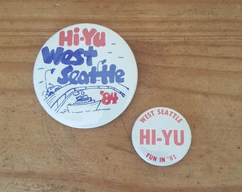Pair of vintage buttons for the Hi-Yu Festival in West Seattle