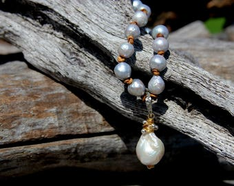 Pendentif perle baroque avec argent massif et Vermeil - 6425-22