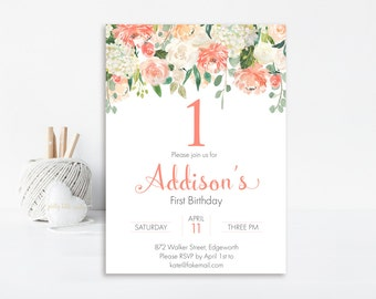 Peach First Birthday Invitation, 1st Birthday Invitation, Printable Invitation, Girl Birthday, Birthday Party Invitation, Watercolor, Peach