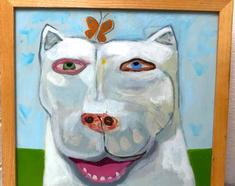 Vintage Pit Bull Dogo Argentino Folk Art Outsider Painting Pop Art