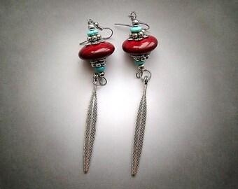 Southwest Earrings, turquoise earrings, silver earrings, feather earrings, red earrings, long earrings, disc earrings, southwest jewelry
