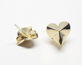 E0117/Anti-Tarnished Gold Plating Over Brass+Sterling Silver Post/Origami Heart Stud Earrings/9x9mm/2pcs