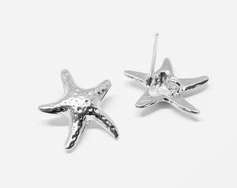 E0148/Anti-Tarnished Matte Rhodium Plating Over Pewter/Starfish Stud Earrings/13.5x15mm/2pcs