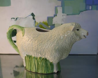 Vintage Sheep Pitcher, Peaceful Kingdom, Seymour Mann, Hand Painted Faience