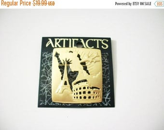 ON SALE Vintage JJ Signed Artifacts Original Opp Card Paris Statue Of Liberty Colosseum Traveling Gold Tone Pin 31517
